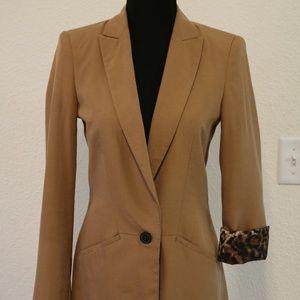 Zara Basic Light Brown Blazer Leopard Print Lining